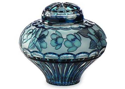 Crystal Lily Azure Blue Urn