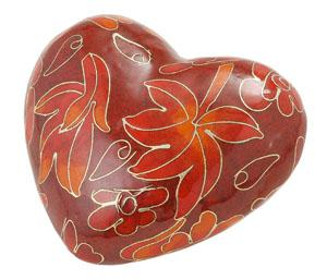 Autumn Leaves Cloisonné Heart Cremation Memento