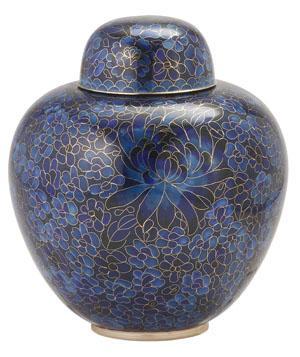 Blue Cloisonné Cremation Urn