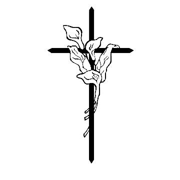 Cross with Calla Lilies Color