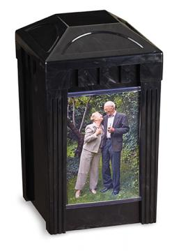 I Remember Urn - Black Marble Plastic w/1 picture pane