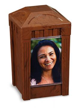 I Remember Urn - Walnut Plastic w/1 picture pane